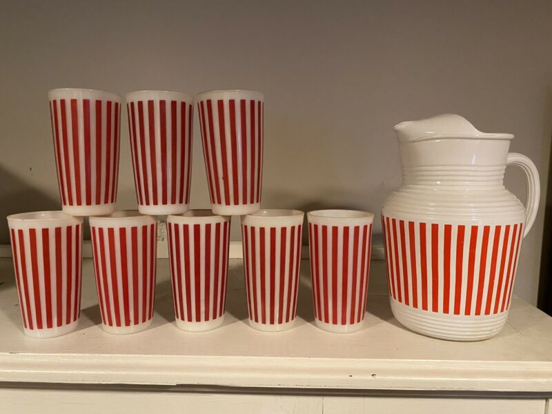 8 Vtg/Hazel Atlas Candy Stripe Red & White Milk Glass Tumblers Pitcher