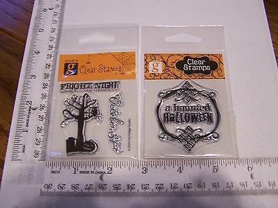 HAUNTED TREE OWL HALLOWEEN OCTOBER 31  STUDIO G  CLEAR RUBBER STAMPS RETIRED - Studio G Halloween Clear Stamps