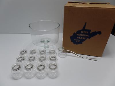 Glass Set Pedestal - West Virginia Glass Punch Set 14 PC Bowl Cups Ladle Pedestal 921 Mint MCM Vtg