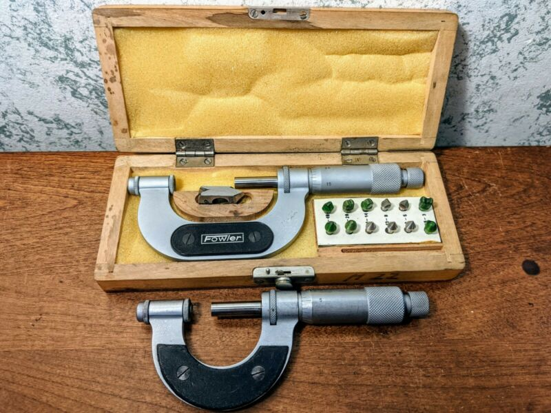 """VIS-FOWLER 0-1 & 1-2"""" THREAD PITCH MICROMETERS w/ 6 ANVIL SETS - MADE in POLAND"""