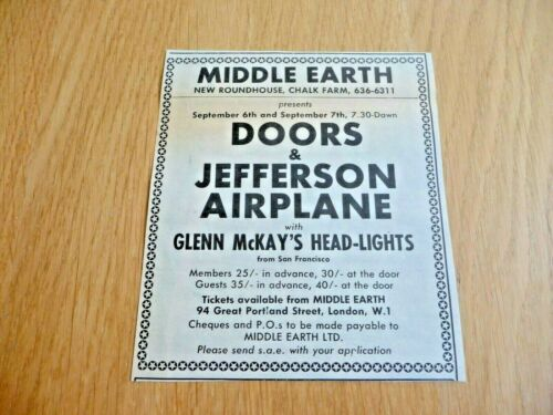 THE DOORS JEFFERSON AIRPLANE  MIDDLE EARTH  ORIGINAL  GIG ADVERT CUTTING 1968