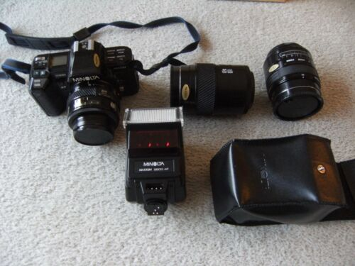 Camera Lenses Minolta Maxxum 7000 Camera 3 Lenses Flash Unit Excellent