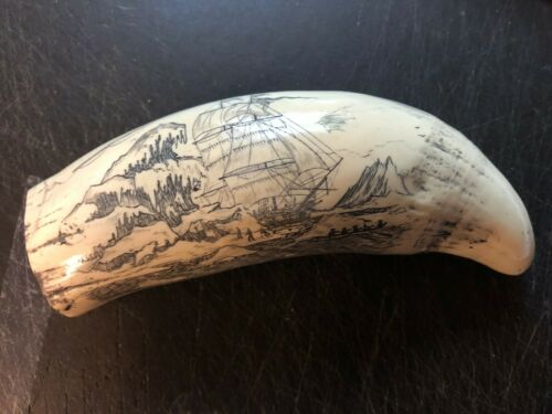 """STEAMER THRASHER""  historic Sperm whale tooth scrimshaw reproduction"
