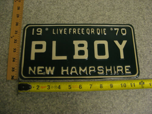 1970 70 NEW HAMPSHIRE NH VANITY LICENSE PLATE # PLAYBOY PLBOY MAGAZINE