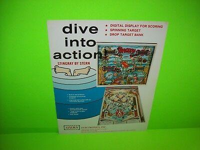 Stern STINGRAY Original NOS 1978 Flipper Arcade Game Pinball Machine Sales Flyer