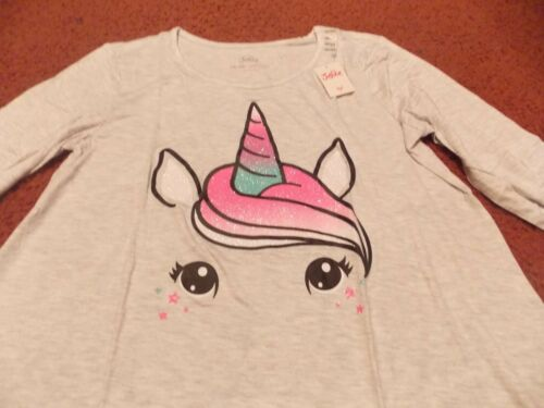 justice - girls size 14/16--- gray swingy top glittery unicorn head--nwt
