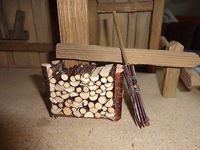 Holzstoß Krippe Zuberhör Handwerk Handarbeit Birke °