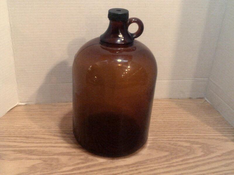 Old Original Brown Amber Glass Gallon Jug w Finger Loop Moonshine Handle.