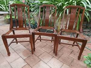 Early 1900s carved back dining chairs St Leonards Willoughby Area Preview