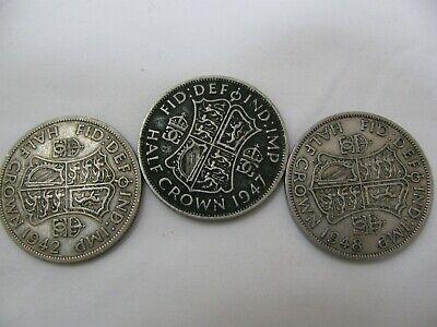 3 British Half Crowns, 1942, 1947, 1948, Excellent Condition