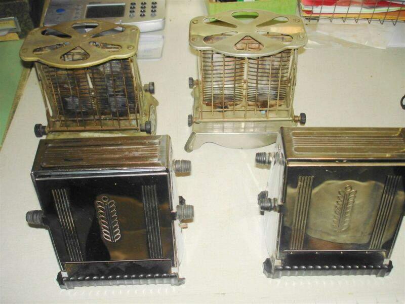 4 c1920-30s Antique Electric Toaster Lot - WESTINGHOUSE Flip Sides Mansfield OH