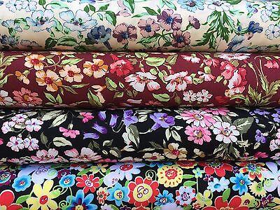 Multi Color Floral 100% Cotton Fabric *Fat Quarter Bundle* Craft Quilt Patchwork