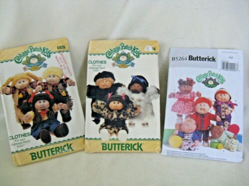 2 Vintage 1984 Cabbage Patch Kids Clothes Patterns with CPK Transfers & one 2008