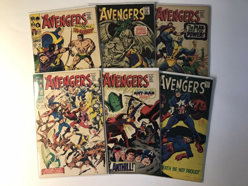 AVENGERS Silver Age Marvel Comics *6 Book LOT* Origin Black Widow! Red Guardian!