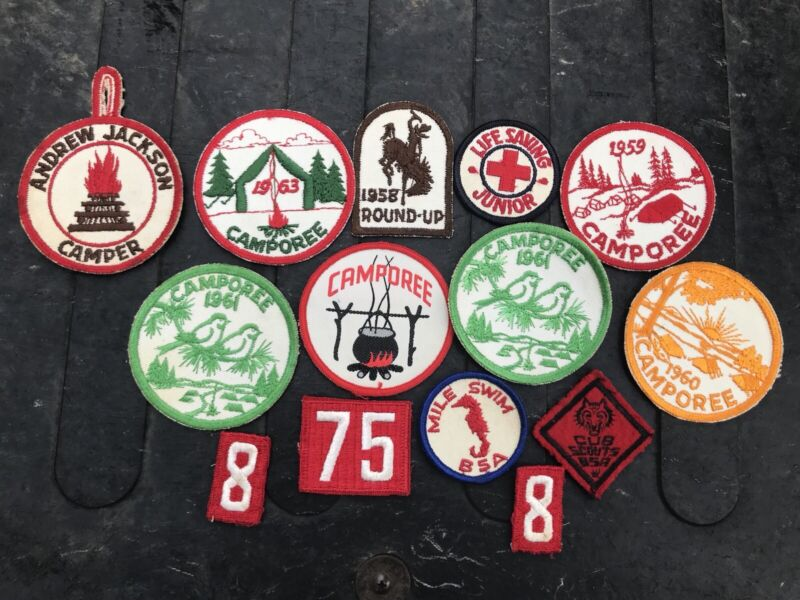 Lot of 14 vintage 1950s & 60s Boy Scout scouting patches