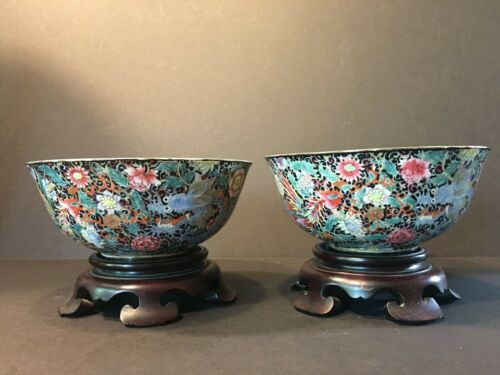 Old Pair Chinese Famille Nior Dragon & Phoenix Bowls, QING Period, Qianlong Mark