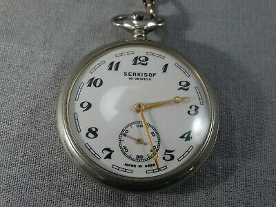 Pocket watch Molnija Molniya Molnia Train Serkisof 18 jewels vintage USSR