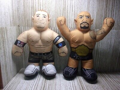 "MATTEL The Rock & John Cena WWE Talkin Brawlin' Buddies Plush Wrestling 16"""