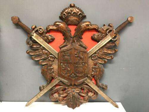 Vintage Complete Crossed Swords Wood Wall Plaque Crest TOLEDO SPAIN