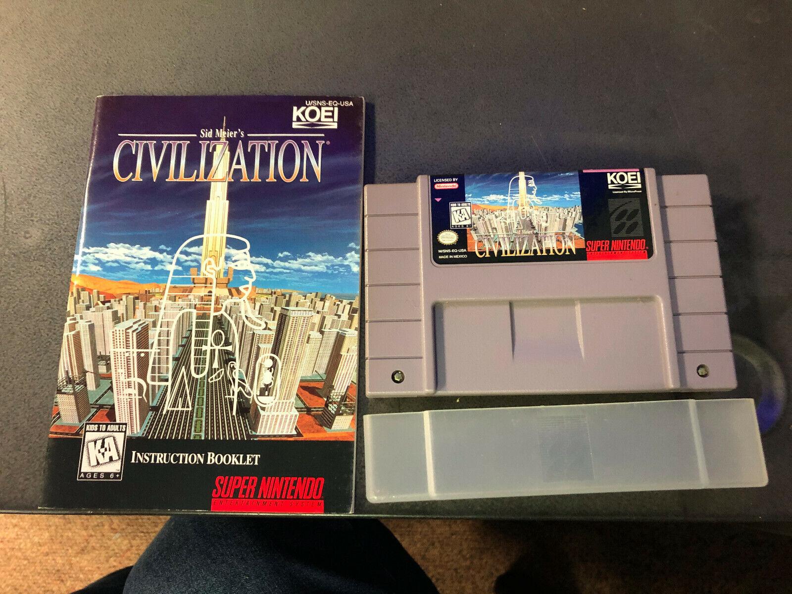 Sid Meier s Civilization Super Nintendo SNES, 1995 W/ Manual Authentic RARE - $41.00