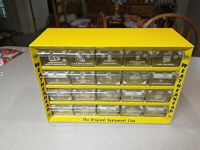 Vintage Weatherhead Yellow Metal Storage Cabinet 20 Drawer With Dividers 2