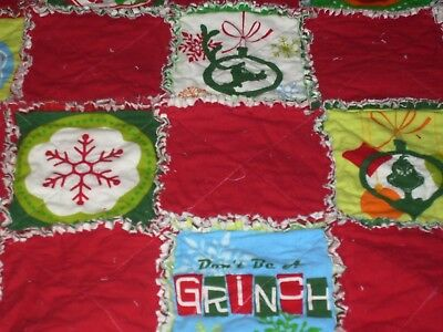 Grinch Stole Christmas Flannel - Rag quilt blanket Baby Dr. Seuss How the Grinch Stole Christmas 35