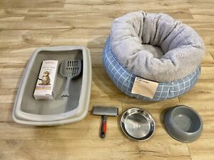 Cat / Kitten Starter Bundle Kit (Litter box, bowls, cushion, brush)
