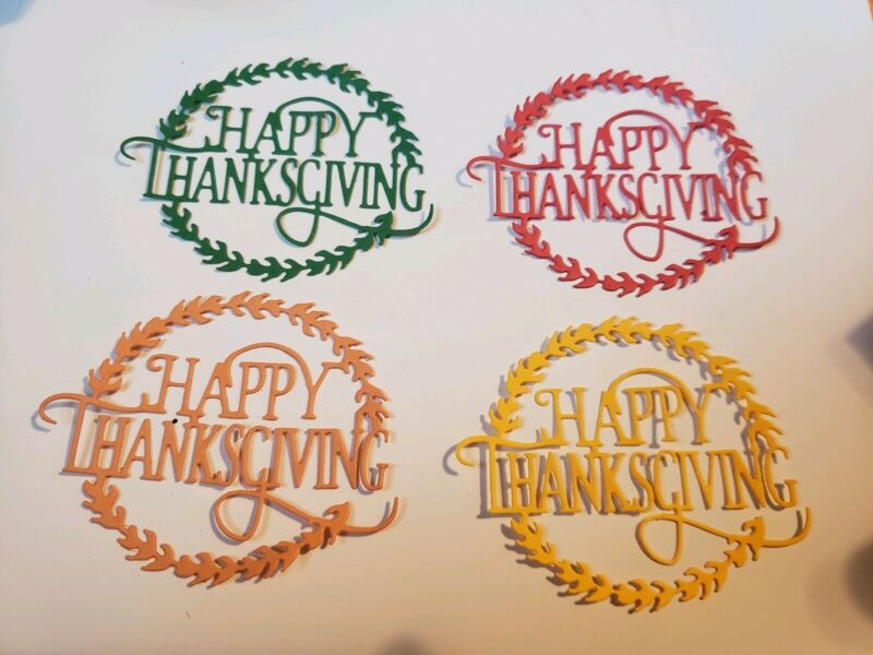 4 Assorted Happy Thanksgiving Paper Die Cut embellishments
