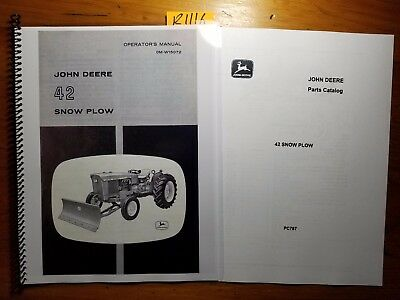 John Deere 42 Snow Plow Blade For 1010 1020 2010 2020 Tractor Oper Manual Parts