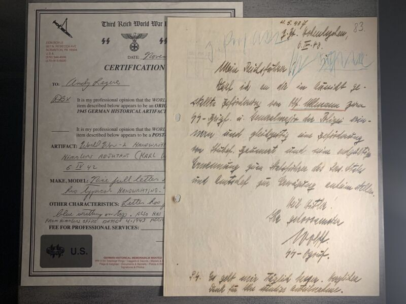 Rare WWII German Officer Karl Wolff Hand Written & Signed Report Document Paper