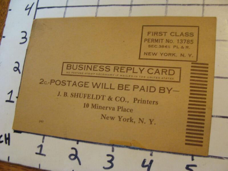 vintage original Card: J.B. Shufeldt & co printers