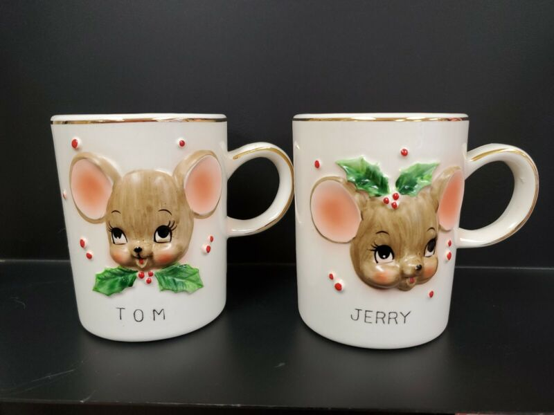 Vintage Tom & Jerry mouse cups/ mugs Christmas