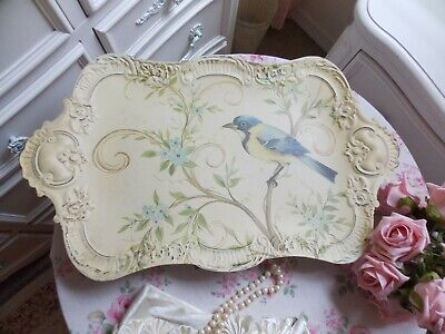 RETIRED PIER 1 SHABBY FRENCH COUNTRY FOOTED METAL ORNATE BIRD TRAY