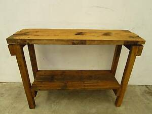 C49011 Small Industrial Rustic Timber Hall Table Island Bench Unley Unley Area Preview