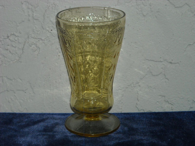 Patrician Footed Tumbler  Amber