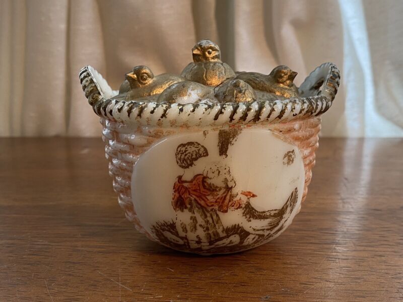 Westmoreland Specialty Emerging Chick w/ Painted Scene on Handled Basket