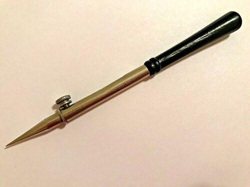 Vintage/Antique Adjustable Depth Sewing Hole Punch Awl Black Handle