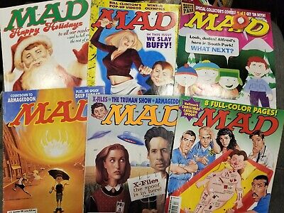 Mad Magazine 1998 lot of 6 issues Jan Mar Jul Sept Oct Dec X-Files humor satire, used for sale  Hanover Park