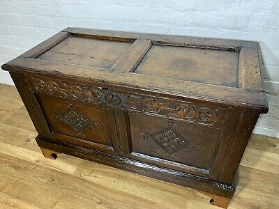 Antique Solid Oak Coffer Chest Blanket Chest Box . Delivery Available All Areas