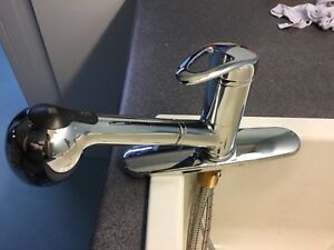 Single handle kitchen faucet with pull out hose