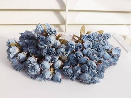 Bulk lot 8 dozen blue artificial dry look small rose buds