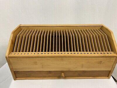 Wooden Monthly Bill Organizer With Drawer Desktop Organizer