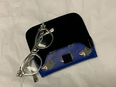 Colorful Sealife Semi Hard - Small Kids Eyeglass Case - Blue Shark BIK - $7.75