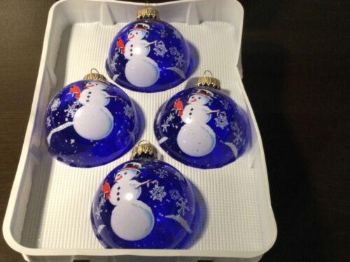"Vintage Box of 4 Krebs Blue & White Glass Ball ""Snowman"" Christmas Ornaments"