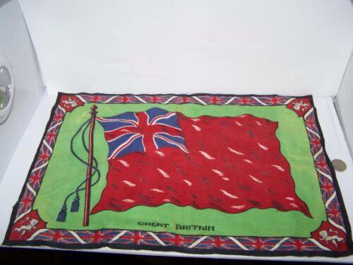 "c.1915 GREAT BRITAIN FLAG FLANNEL CIGARETTE PACK TOBACCO FELT ANTIQUE 17.5""x12"""