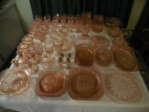 Pink Adam Depression Glass 120 piece lot