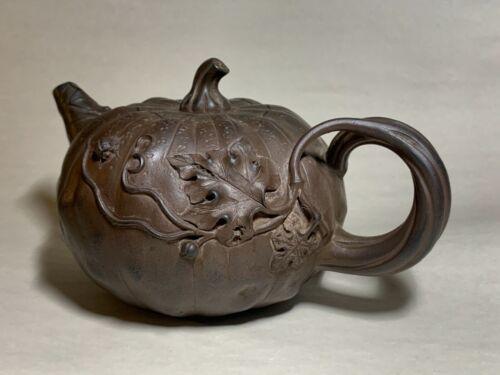 Qing YiXing Zisha PumpkinTeapot of TianQing clay by CHEN Mingyuan 清陈鸣远天青泥东陵南瓜壶