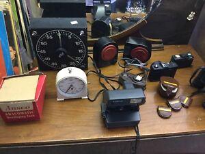 Camara's, darkroom time, timers and light meters, lens, lot $50