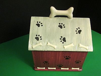Paws Ceramic Bones - Doghouse Style Treat Dish with Lid, Bones and Paws, Ceramic