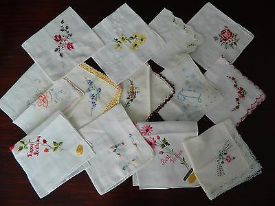 Lot of 13 true vintage White hankies w Embroidered flowers